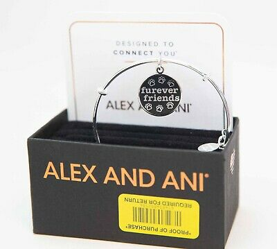 Authentic Alex and Ani Furever Friends Shiny Silver Expandable Charm Bangle