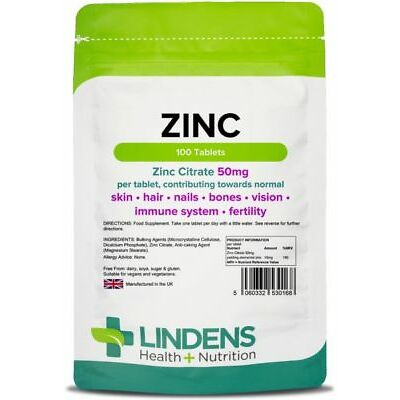Zinc Citrate 50mg Tablets (100 pack) sexual health acne immune [Lindens 0168]