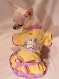 Dog-dress-Dog-clothes-Yellow-Happy-Flower-Dog-Dress-Size-XS-S-M-L-FREE-SHIPPING
