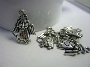 10-Dog-Angel-with-Wings-Antique-Silver-Charms-24x19mm-Jewelry-Supplies-1133