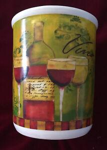 Cypress-Home-Stoneware-Wine-Utensil-Holder-Crock-EUC