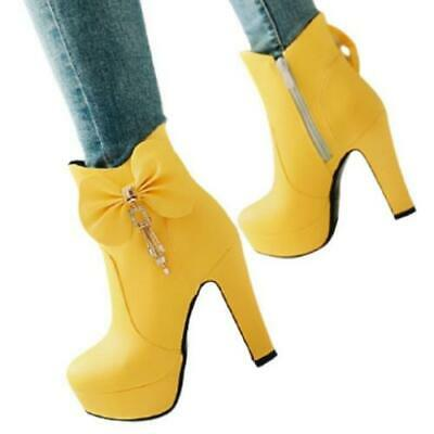 Women Lady Shoes Synthetic Leather High Block Heels Bowknot Zipper Ankle Boots D