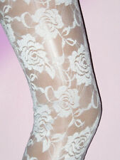 White / Pale Ivory Floral Footless Ladies Tights. Size 10 New Nottingham Lace