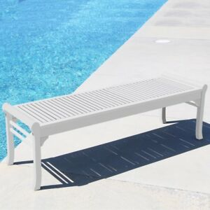 Details About Bradley Eco Friendly 5 Foot Backless Outdoor White Wood Garden Bench