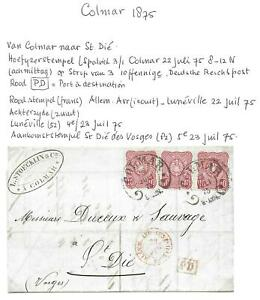German-Reich-covers-1875-strip-of-3-folded-letter-COLMAR-to-St-Die