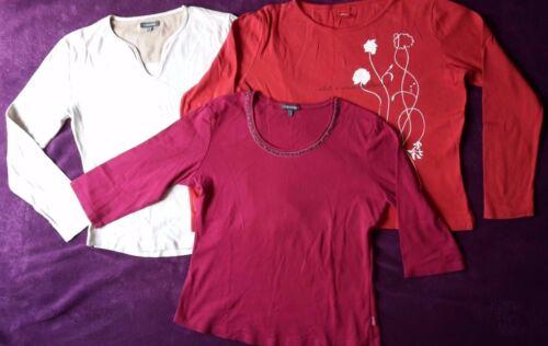 3 Langarm T-Shirts von Esprit, S`Oliver,Toll bestickt, Gr. L/ 42, gut erhalten