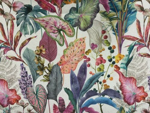 Passion Palms Tropical Printed Linen 280cm Wide Curtain// upholstery Fabric