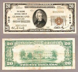 Cumberland-MD-20-1929-T-1-National-Bank-Note-Ch-1519-Second-NB-VF