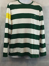 Lacoste Men's Striped Long Sleeve T-Shirt, Green/White/Yellow, XXL
