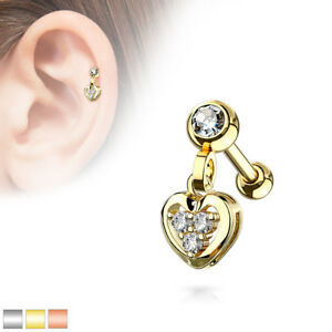 """choose your color 1pc Crystal Heart Dangle Tragus Helix Cartilage Ring 16g 1//4/"""""""