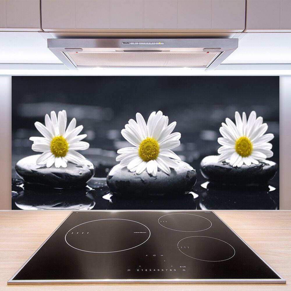 Crédence Crédence Crédence de cuisine en verre Panneau Paroi 100x50 Floral Marguerite Pierres 18d2f5
