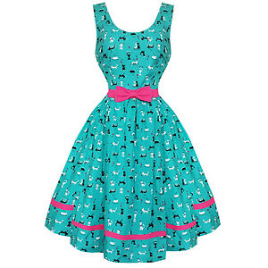 Womens Ladies New Turquoise Cat Print 1950s Retro Vintage 1950s ... 661a118a9