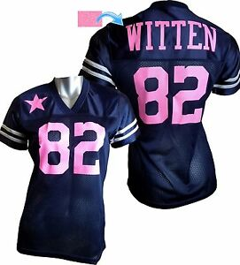 innovative design bac3b 75107 Details about Custom Womens Blinged Football Navy/Pink Jersey, Jason Witten