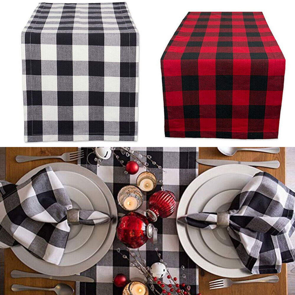 HK- Christmas Party Home Decor Buffalo Plaid Table Runner Placemats Cotton Table Home & Garden
