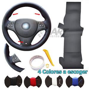 Funda de volante a medida cuero liso + perforado para Bmw E92 E93 con Pack M