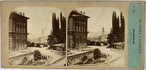 Stéréo, Italie, Florence, palais Vecchio Vintage stereo card,  Tirage albuminé