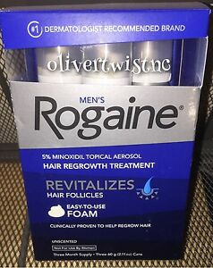 (3) ROGAINE MENS 5% TOPICAL FOAM MINOXIDIL 3 Month Supply 2.11oz CANS OCT 2019 704407907275