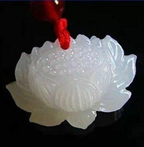 natural hand-carved Chinese jade pendant White jade lotus //free shipping