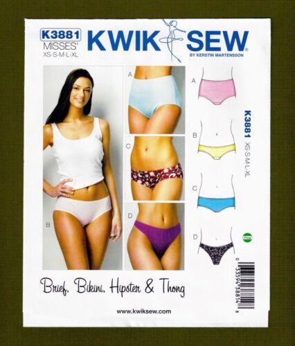 Sizes XS-XL Kwik Sew 3881 Panties Sewing Pattern~Briefs~Bikini~Hipster~Thong
