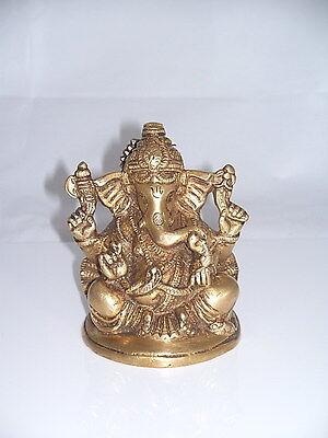 """Ganesh Indischer Gott Messing Wand Maske /""""Ganesha auf Ratte/"""" H 18,5 cm neu"""