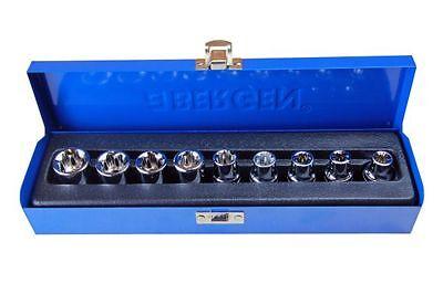 "BERGEN 9pc 1/2"" Dr. Star E Torx Socket Set 1130"