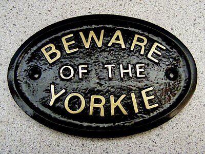 BEWARE OF THE YORKSHIRE TERRIER YORKIE - HOUSE DOOR PLAQUE DOG SIGN