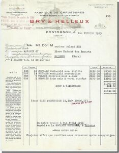Factura - BRY & HARGREAVES Fábrica de zapatos Pontorson 1953