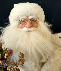"SANTA CLAUS IN WHITE SUIT HAND CRAFTED 17""- ONE OF A KIND- Life Like Beard"