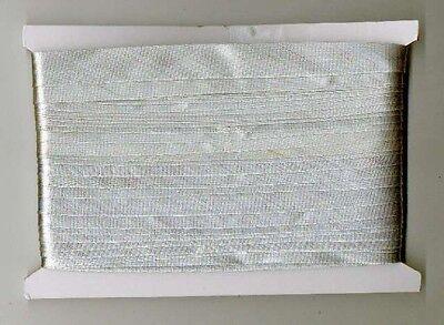 0,25€/m 32m Satin Schrägband 15mm breit Farbe: Lurex-Silber
