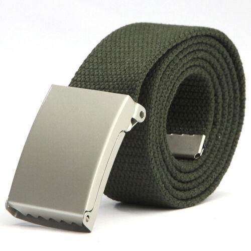 Unisex Braided Web Metal Flat Buckle Fabric Woven Canvas Adjustable Long Belts