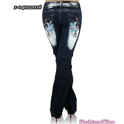 Womens Bootcut Jeans Plus Size Tattoo Ladies Trousers Crazy Age 14,16,18,20,22
