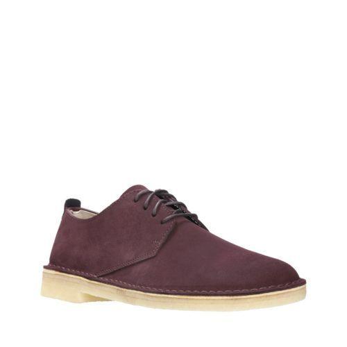 Clarks Originals Desert London Men's Burgundy Suede Casual Shoes 26128511