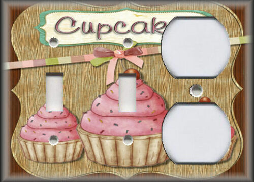 Kitchen Decor Pink Cupcakes Decor Bakery Decor Metal Light Switch Plate Cover