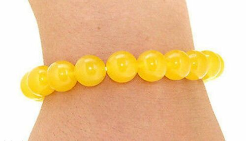 "Naturel 10 mm JAUNE TOPAZ Gemstone Beads Bracelet Bangle 7.5/"" AAA"