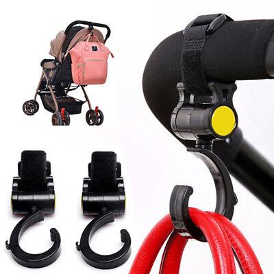 2 x Shopping Bag Buggy Hooks For Pram Pushchair Stroller Clips Large Hand Carry