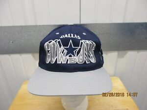 VINTAGE NFL DALLAS COWBOYS LETTERS BLUE GREY SEWN 90s SNAPBACK CAP ... e15be704b