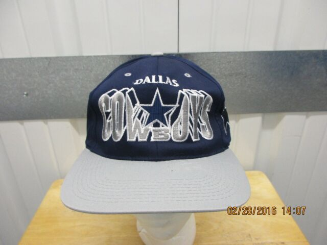 VINTAGE NFL DALLAS COWBOYS LETTERS BLUE GREY SEWN 90s SNAPBACK CAP HAT DS 0ce932ae4