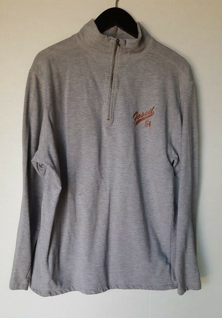 FOSSIL BRAND MEN'S ZIP FRONT HENLEY KNIT LONG SLEEVE GREY LARGE