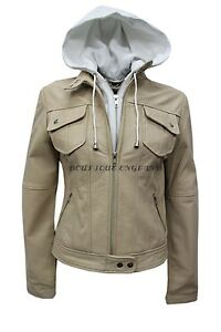 Soft Leather Hooded Style 2621 Beige Italian Ladies New Napa Biker Jacket Real yOpZYywq