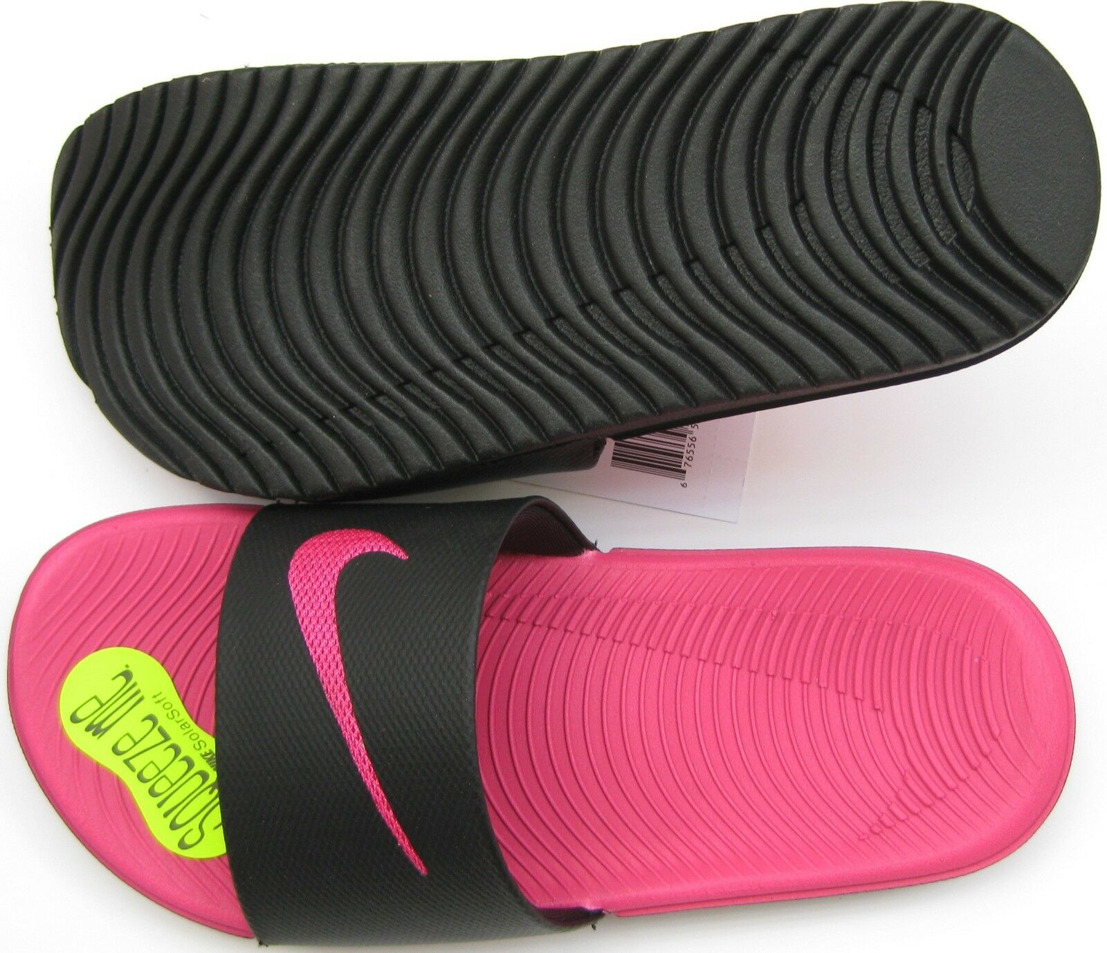 a3146d07537735 Nike Kawa Kid Girls Slide Sandals Black Pink Size 1y