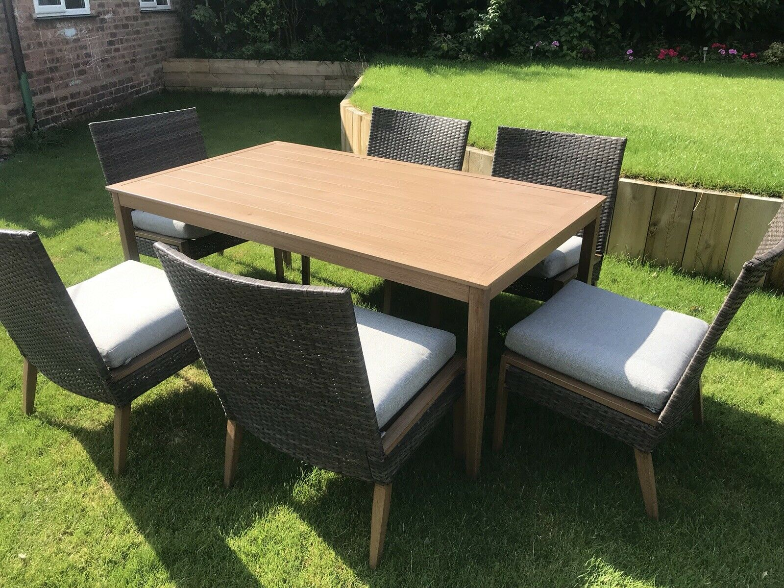 6 Seater Patio Dining Set Outdoor Garden Furniture Table And Chairs With Cushion