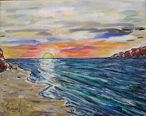 canvas-NEPTUNE-COVE-SUNSET-8x10-sunset-shore-oil-painting-beach-signed-CROWELL