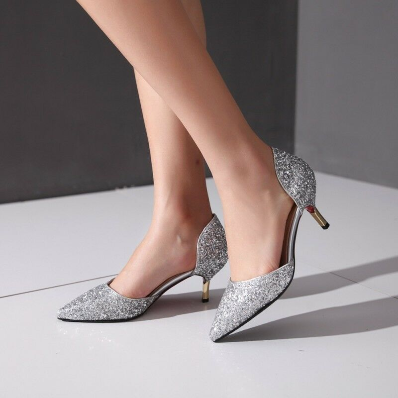 Ladies Glitter Kitten Heel Sliver gold Bling Pointed Toe Wedding Party shoes HOT
