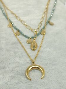 Collier-Pendentif-Acier-Inoxydable-Dore-Et-Bleu-Bijou-Femme-Boite-Cadeaux