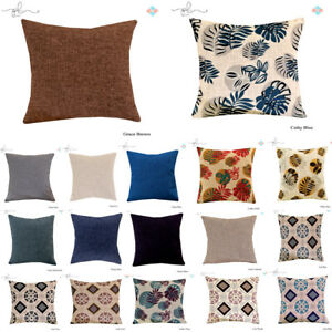 Luxury-Plain-Chenille-Flocking-Cushion-Covers-Zip-Up-Fastening-Scatter-Pillow-UK
