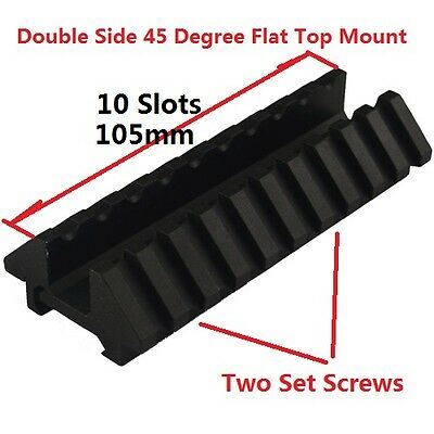 Double Side 45 Degree 2 way Offset Side Scope Mount 20mm Picatinny Weaver Rail