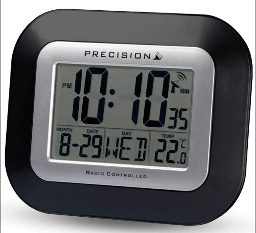 precision radio controlled large screen lcd wall or desk clock black prec0097 ebay. Black Bedroom Furniture Sets. Home Design Ideas