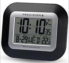 Precision Radio Controlled Large Screen LCD Wall Or Desk Clock Black PREC0097