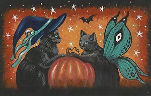 4X6-PRINT-OF-PAINTING-RYTA-BLACK-CAT-WITCH-HALLOWEEN-FOLK-ART-GHOST-MAGIC-JOL