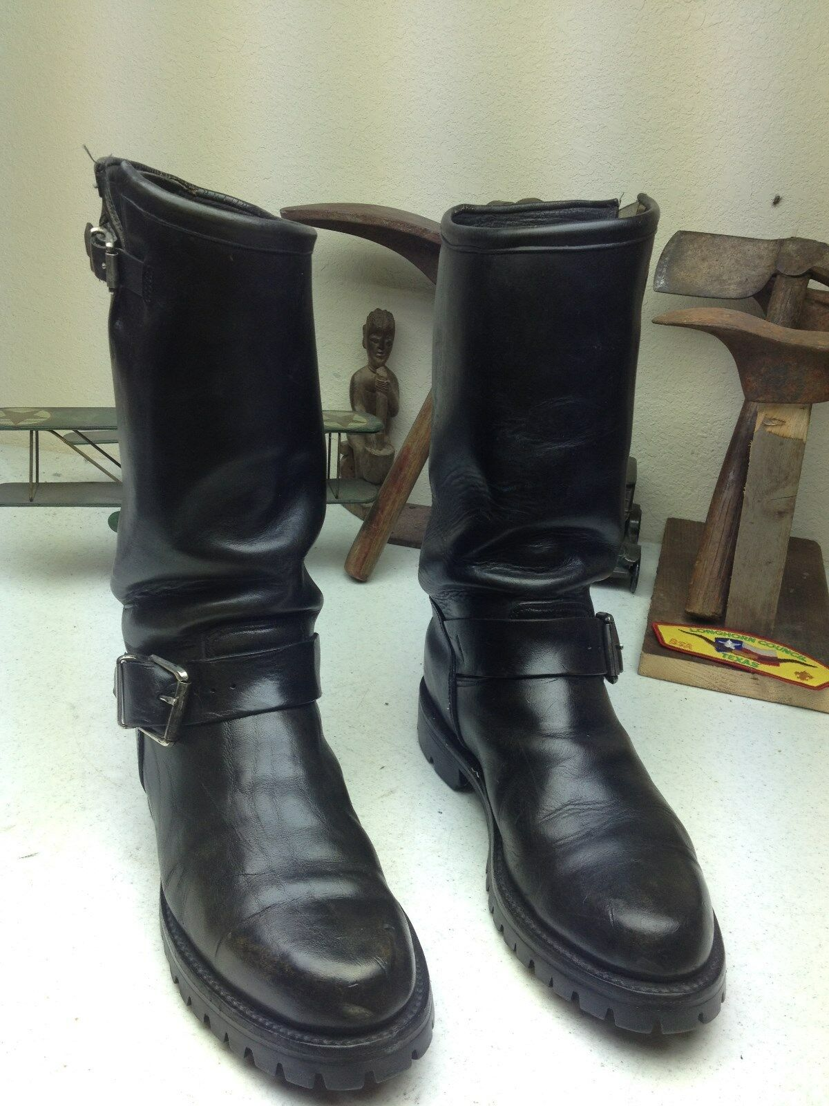 MADE IN USA BLACK LEATHER ENGINEER D MOTORCYCLE Stiefel SIZE 8.5 D ENGINEER 0ac419
